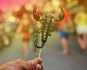 cuisine Thailandaise pour les enfants - brochette de scorpion - la thailande avec un ado