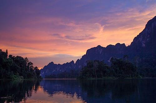 hôtel Khao Sok en famille - coucher de soleil thailande