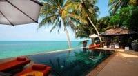 Hotel luxe koh samui-piscine - thailande en famillea débordement-vue sur la mer-paradis tropical