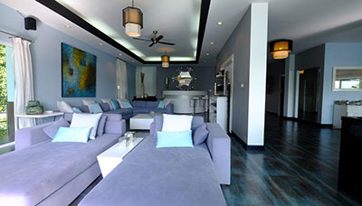 villa piscine-koh phangan-location-famille-salon