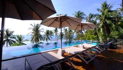 villa piscine-koh phangan-location-famille-vue mer-palmier