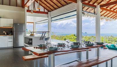 villa piscine-koh phangan-location-famille-vue mer-palmier-piscine-terrasse