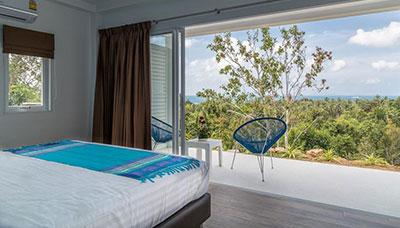 villa piscine-koh phangan-location-famille-vue mer-palmier-chambre-terrasse