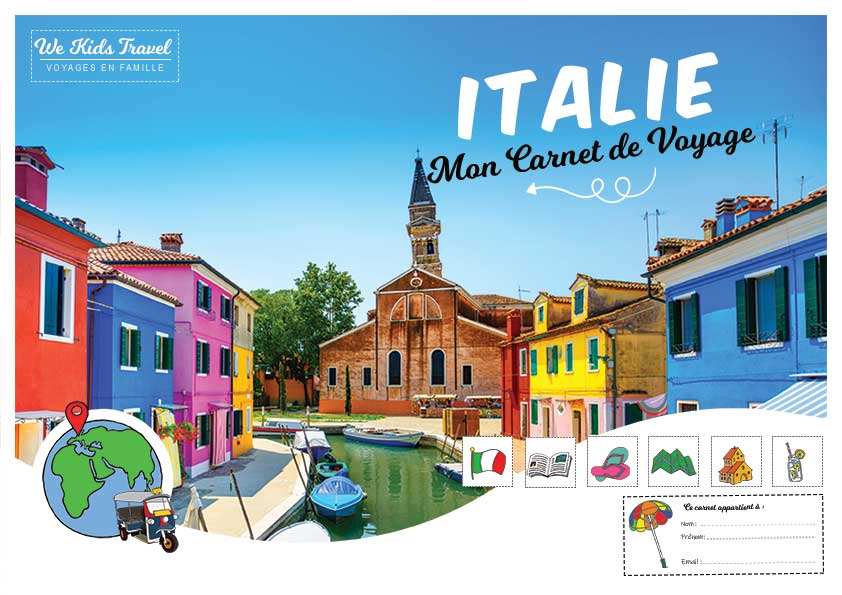 carnet de voyage italie- enfant - illustration-photo-icones-bande dessinée
