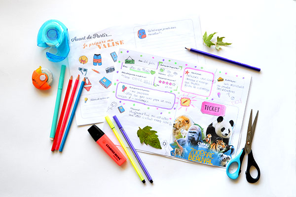carnet de voyage Italie- Enfant - fourniture- crayons - feutres - coloriage